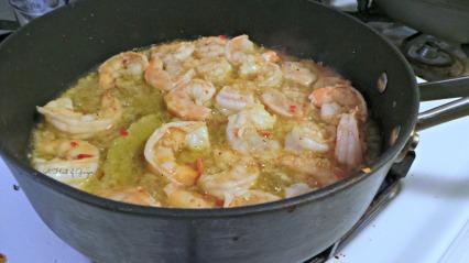 Cooking up Garlic Shrimp