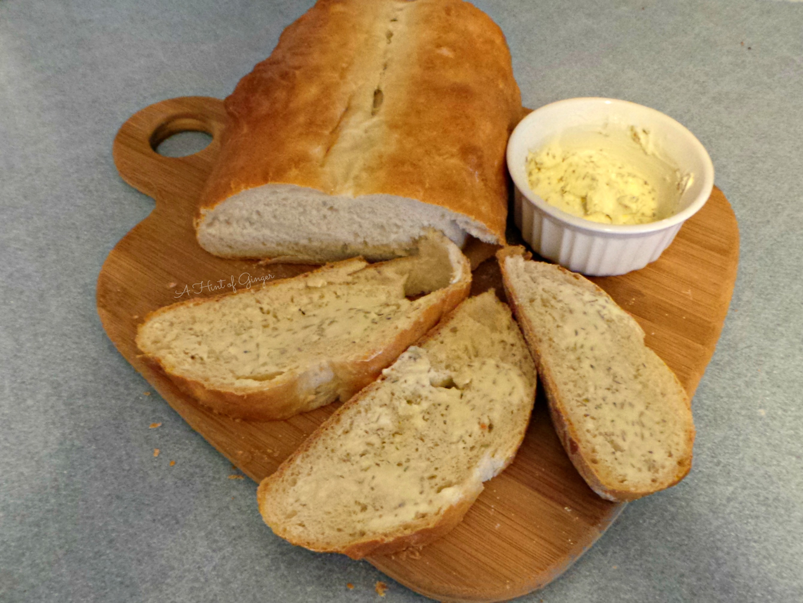 Rustic Italian Bread with Rosemary Butter | A Hint of Ginger