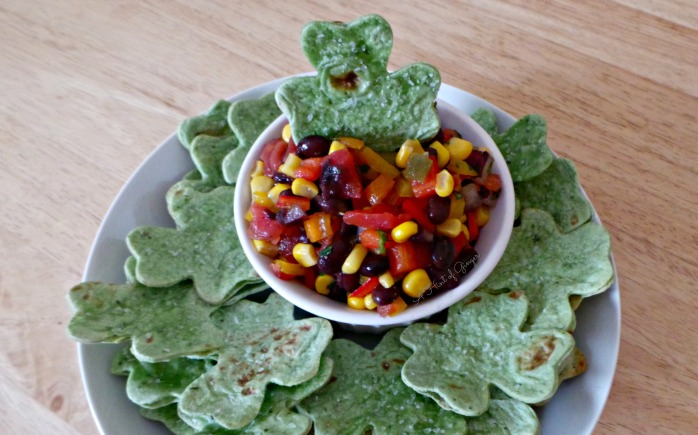 Homemade Salsa and Shamrock Tortilla Chips - Dipping.jpg