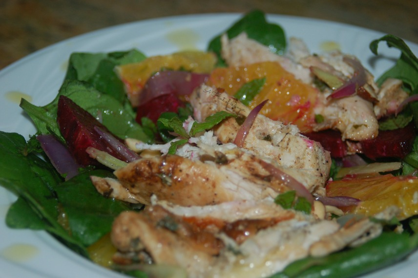 Coriander and Lemon Chicken Over Beet, Orange, and Fennel Salad