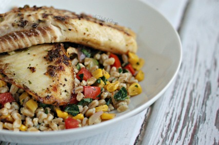 Habanero & Green Pepper Crusted Tilapia Over Farro Salad