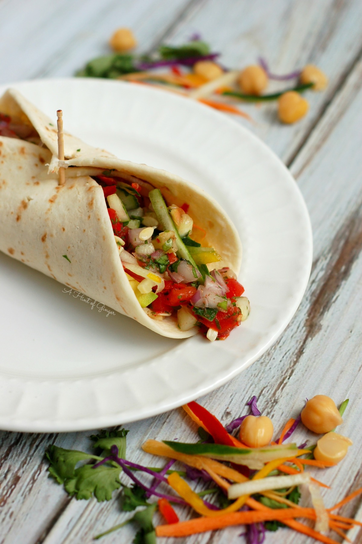 Veggie Wrap with Chickpea Spread & CucumberSalsa