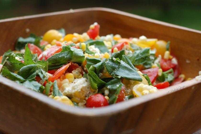 Corn, Tomato, Mozzarella, Basil Salad