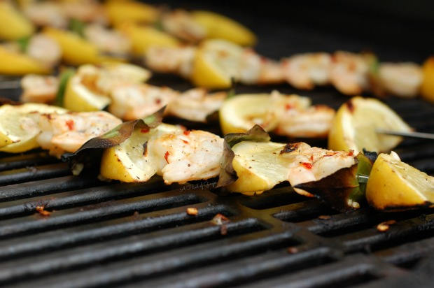 Lemon and Bay Leaf Shrimp Skewers on the grill