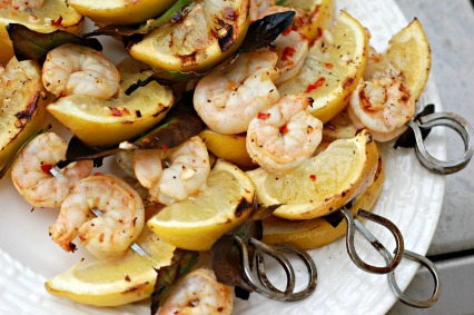 Lemon and Bay Leaf Shrimp Skewers