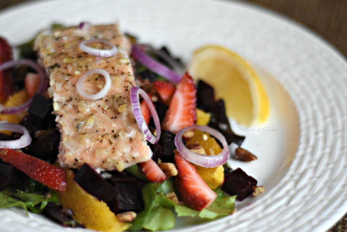 Ginger Citrus Salmon with Fruit & Beet Salad